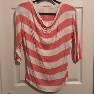 Pink and White Striped 1/2 Sleeve Shirt